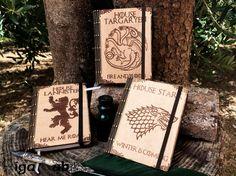 Notebook Game of Thrones - Stark, Targaryen, Lannister - Woodburning Pyrography di GigaLabWoodCreations