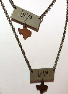 Texas Love necklaces from Alliewood boutique at The Shoppes at Brownstone Village in Arlington, TX.