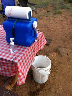 smart camping handwashing station www.thebrighterwriter.blogspot.com