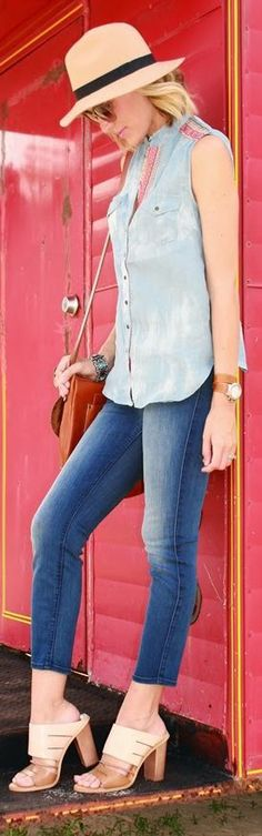 Heavenly Couture Chambray Washed Sleeveless Button Up by Belle de Couture