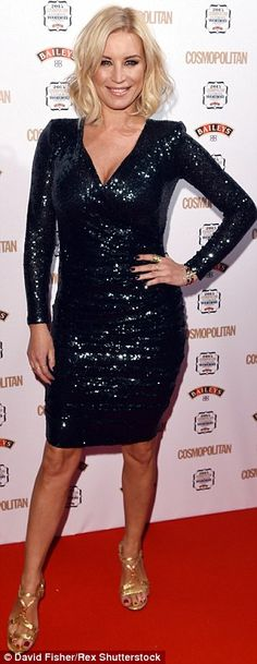 Ready to sparkle: Denise Van Outen hit the red carpet in a party season-perfect sparkly dr...