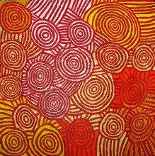 ABORIGINAL ART PAINTING by Debra Young Nakamarra - ROCK HOLES - DY1686