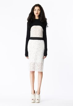 LOOK 2 White honeycomb lace sheath with black cotton poplin waistband. Black merino wool cropped sweat knit.