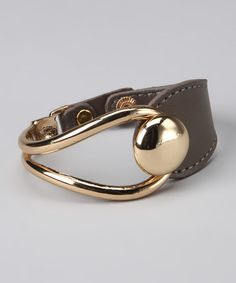 Gray Mixed Metal & Leather Bracelet by R U S H By DENIS & CHARLES