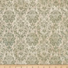 Tim Holtz Eclectic Elements Wallflower Faded Damask Teal from @fabricdotcom  Designed by Tim Holtz, this cotton print is perfect for quilting, apparel and home decor accents. Colors include shades of cream and green.