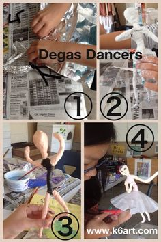 Degas inspired dancers art project for kids Art History Lessons, Art Lessons For Kids, Artists For Kids, Art Lessons Elementary, Art For Kids, Sculpture Projects, Sculpture Art, Art Projects, Degas Dancers