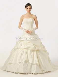 Strapless Beaded and Appliqued Satin Ball Gown with Pick Ups
