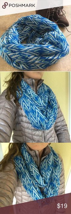 {Francesca's} Blue + Mint Aztec Infinity Scarf EUC! Only worn once for a photo shoot. Like new condition. Royal blue, white and mint Aztec print on light, soft 100% polyester fabric. Hand wash. Offers warmly welcomed! Francesca's Collections Accessories Scarves & Wraps