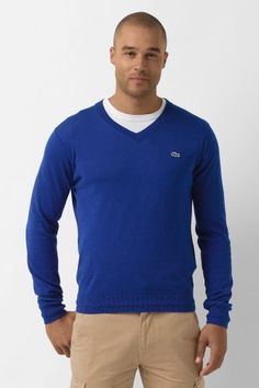 Lacoste Cotton Cashmere V-Neck Sweater: 1.) Luxe Blue 2.) Grey