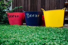 Beer Buckets | Bright DIY \'At Home\' Outdoor Garden Ceremony & Marquee Reception | Marianne Chua Photography