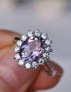 Pink Wedding Rings, Diamond Wedding Bands, Wedding Stuff, Wedding Ideas, Gemstone Engagement Rings, Vintage Engagement Rings, Pink Amethyst, Amethyst Rings, Vintage Amethyst Ring