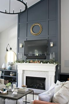 Nov 2019 - How to give a tall fireplace wall a ton of character and drama with molding and paint. Tv Over Fireplace, Tall Fireplace, Brick Fireplace Makeover, Home Fireplace, Fireplace Design, Fireplace Ideas, Above Fireplace Decor, Two Story Fireplace, Brick Fireplaces
