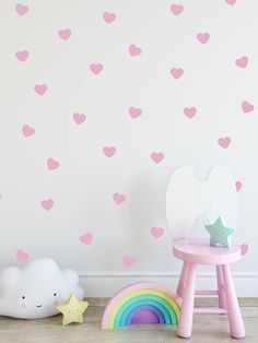 88 Gold Heart wall Decal Nursery Room Stickers Red Pink Vinyl Hearts Confetti