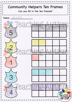 Police is always the fave career during our Community Helpers topic - students just love the badges! This great ten frame work sheet is part of a whole pack of Math Worksheets linked to theme of Community Helpers!