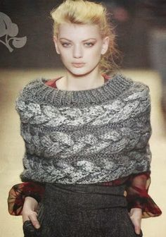 #78 Poncho o Chal a Dos Agujas o Knitting