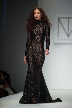 Black Lace Long Sleeves Prom Dresse | Split prom dresses, Sleeve