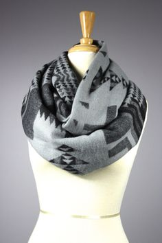 Gray Infinity scarf indian infinity scarf ethnic by ScarfObsession, $35.00