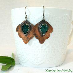 Mixed Metal Earrings  Copper Earrings  Silver by YagnaWireJewelry