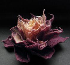 Bilberry Cream and Caramel Felt Flower Brooch Handmade by Brigite, $29.00