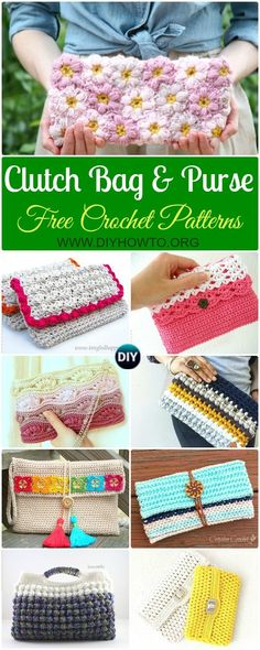 Collection of Crochet Clutch Bag & Purse Free Patterns Instructions: Crochet Evening Clutch Bag, Crochet Purse, Crochet Small Bag, Crochet Shoulder Bag, via @diyhowto