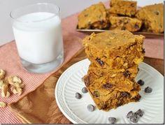 Pumpkin walnut chocolate chip cake bars. Never too much pumpkin stuff :)