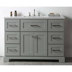 Legion Quartz Top Cool Grey 48-inch Single Bathroom Vanity - 19551407 - Overstock - Great Deals on Legion Furniture Bathroom Vanities - Mobile