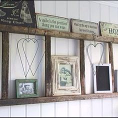 Old wooden ladder used as a shelf