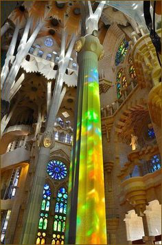 Light inside Sagrada Familia. Come take a walk with barcelonacharms.com/