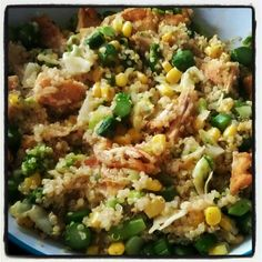 gardein's mandarin orange crispy chick'n with quinoa, corn, cabbage, broccoli, and asparagus  (I like Trader Joe's mandarin Orange vegan chick'n better)