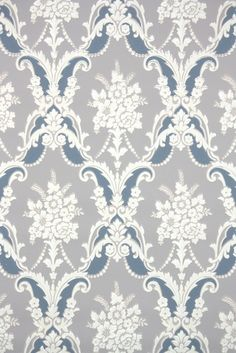 Floral damask vintage wallpaper from the 1940s. So much vintage wallpaper from Hannah's Treasures vintage wallpaper!