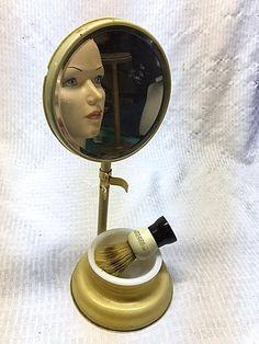 Vintage 1920s Shaving Mirror Bowl and Shaving Brush French