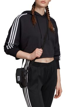 This cropped hoodie is cut from amazingly soft brushed jersey, creating a versatile look that's perfect for throwing on after a workout. Style Name: Adidas Originals Crop Hoodie. Style Number: Available in stores. Adidas Cropped Hoodie, Adidas Jacket, Adidas Originals, The Originals, Hoodie Dress, Contemporary Fashion, Black Hoodie, Black Cotton