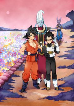 Goku, Vegeta, Whis, and Beerus