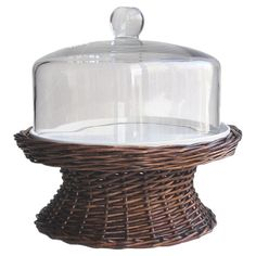 Wicker and glass cake platter