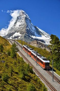 Mountain train to Zermatt, mount Matterhorn, Switzerland. I got to take this trip to Zermatt to see the Matterhorn when I was stationed at Hahn AB 1985 Places Around The World, Oh The Places You'll Go, Travel Around The World, Places To Travel, Travel Destinations, Places To Visit, Around The Worlds, Wonderful Places, Great Places
