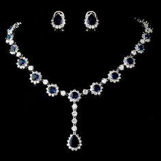 Elegant Navy Blue Rhinestone and CZ Wedding Jewelry Set - gorgeous!