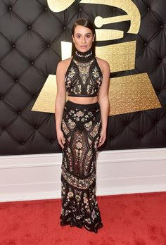 Lea Michele in Roberto Cavalli - Every Look from the 2017 Grammy Awards - Photos Lea Michele, Celebrity Red Carpet, Celebrity Look, Celebrity Dresses, Celeb Style, Charlotte Olympia, Roberto Cavalli, Fashion 2017, Star Fashion
