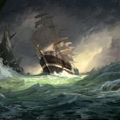 Pirate ship in storm digital illustration. Painted in the style of a vintage oil painting. Printed on Enhanced Matte paper. Pirate Boats, Pirate Art, Pirate Ships, Pirate Ship Painting, Boat Painting, Ocean Sleeve Tattoos, Pirate Ship Tattoos, Storm Tattoo, Old Sailing Ships