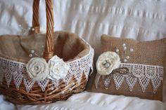 Rustic Flower Girl Basket and Ring Bearer pillow Set