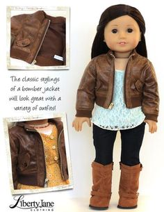 Liberty Jane Bomber Jacket 18 inch Doll Clothes Pattern PDF   Pixie Faire