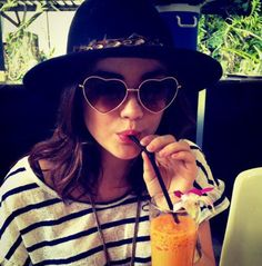 Find images and videos about hat, pretty little liars and pll on We Heart It - the app to get lost in what you love. Ray Ban Sunglasses Outlet, Ray Ban Outlet, Sunglasses Online, Discount Sunglasses, Cheap Sunglasses, Women's Sunglasses, Heart Shaped Glasses, Heart Glasses, Lucy Hale