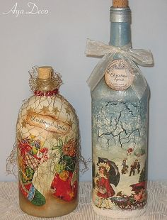 Christmas Decoupage Bottles. Can use Modge Podge and paper napkins, wrapping paper, etc to decoupage the bottles.