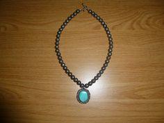 Vintage Native American Blue Turquoise Pendant White by BathoryZ, $159.00