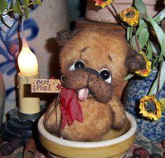 "Primitive Pug 4"" Dog Bear Doll Vtg Patti's Ratties Antique lk Bulldog Boxer Pup"
