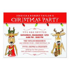Christmas Party Reindeer with Drinks Invite Christmas Party Drinks, Office Holiday Party, Holiday Parties, Holiday Drinks, Christmas Humor, Christmas Holidays, Christmas Cards, Happy Holidays, Holiday Cards