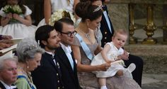 Baby Princess Estelle of Sweden with her mother Crown Princess Victoria of Sweden. She was the maid of honour on the wedding of her aunt Princess Madeleine of Sweden with Christopher O'Neill