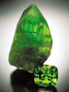While the 64.57-carat cut peridot is magnificent, it is overshadowed by the amazing 7.9-cm tall crystal.  Both are from Sappat, Kohistan, Pakistan. - Jeffrey Scovil - Photo courtesy of GIA