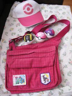 Pokemon Hilda Cosplay Bag, Pokeballs and Hat SOLD by DarkSaberCat.deviantart.com on @deviantART