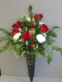 426 best grave flower arrangements images on pinterest in 2018 christmas spike vase with red roses white carnations christmas flower arrangements silk flower arrangements mightylinksfo