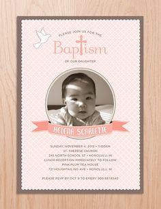 Baby Girl Baptism Christening Dove Cross Photo Banner Invitation Printable Digital File on Etsy, $18.00